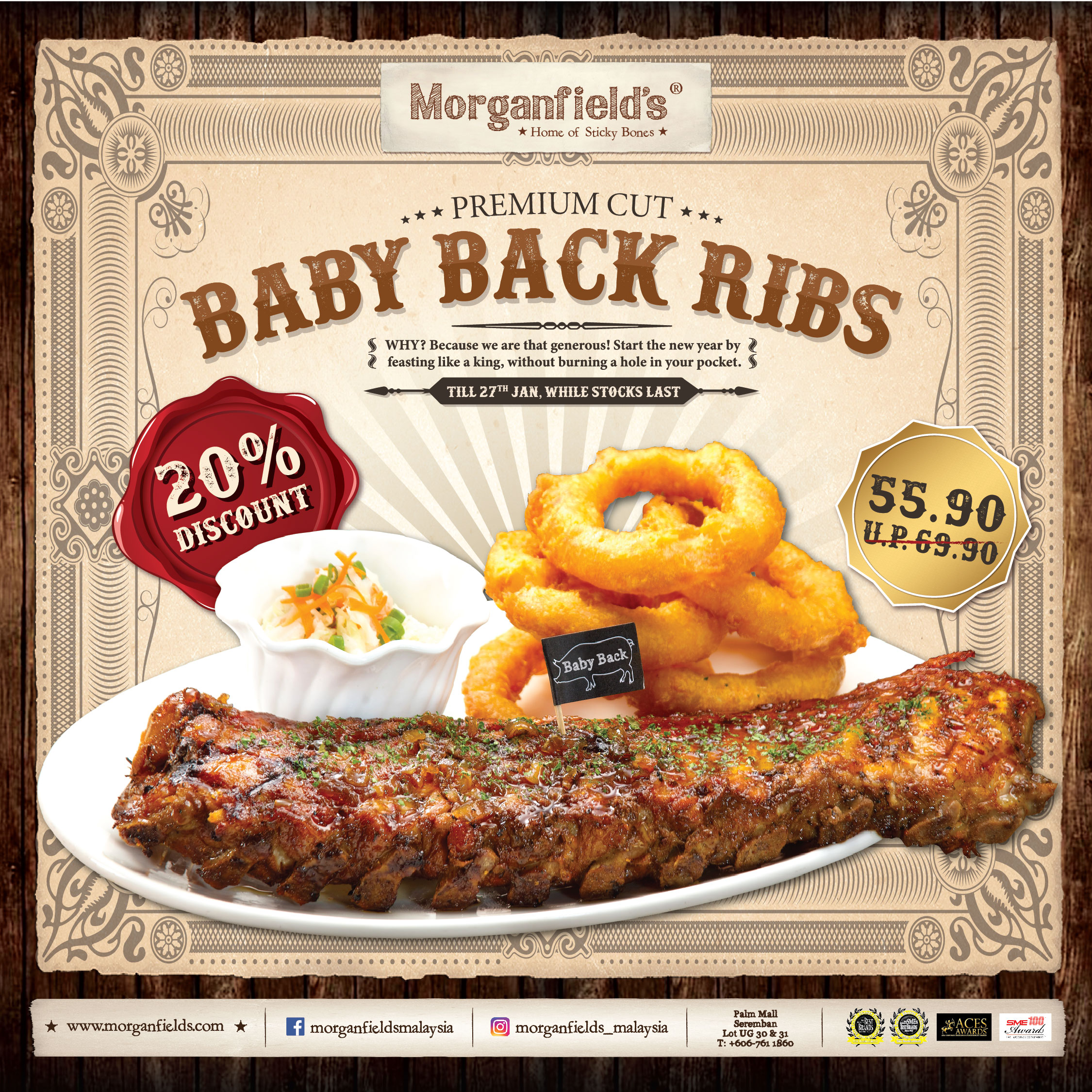 Morganfield's 20% OFF Baby Back Ribs