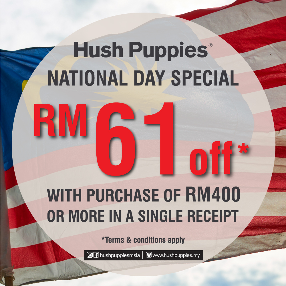 Hush Puppies RM61 off Merdeka Sales