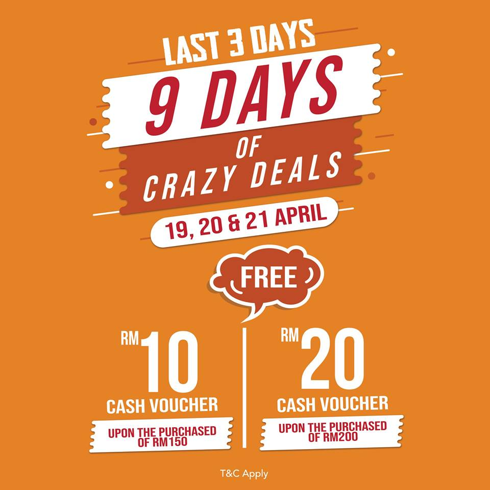 9 Days Crazy Deals Cash Voucher Give-Away