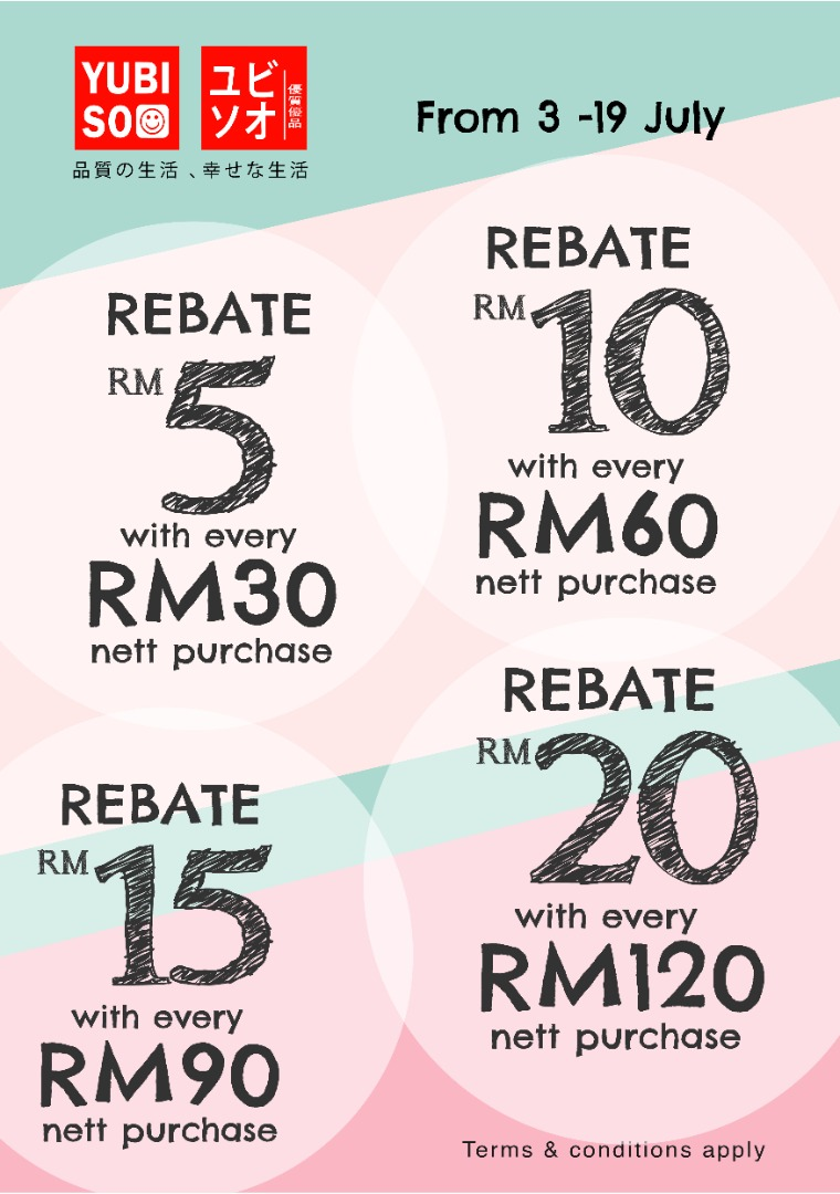 Yubiso July Rebate