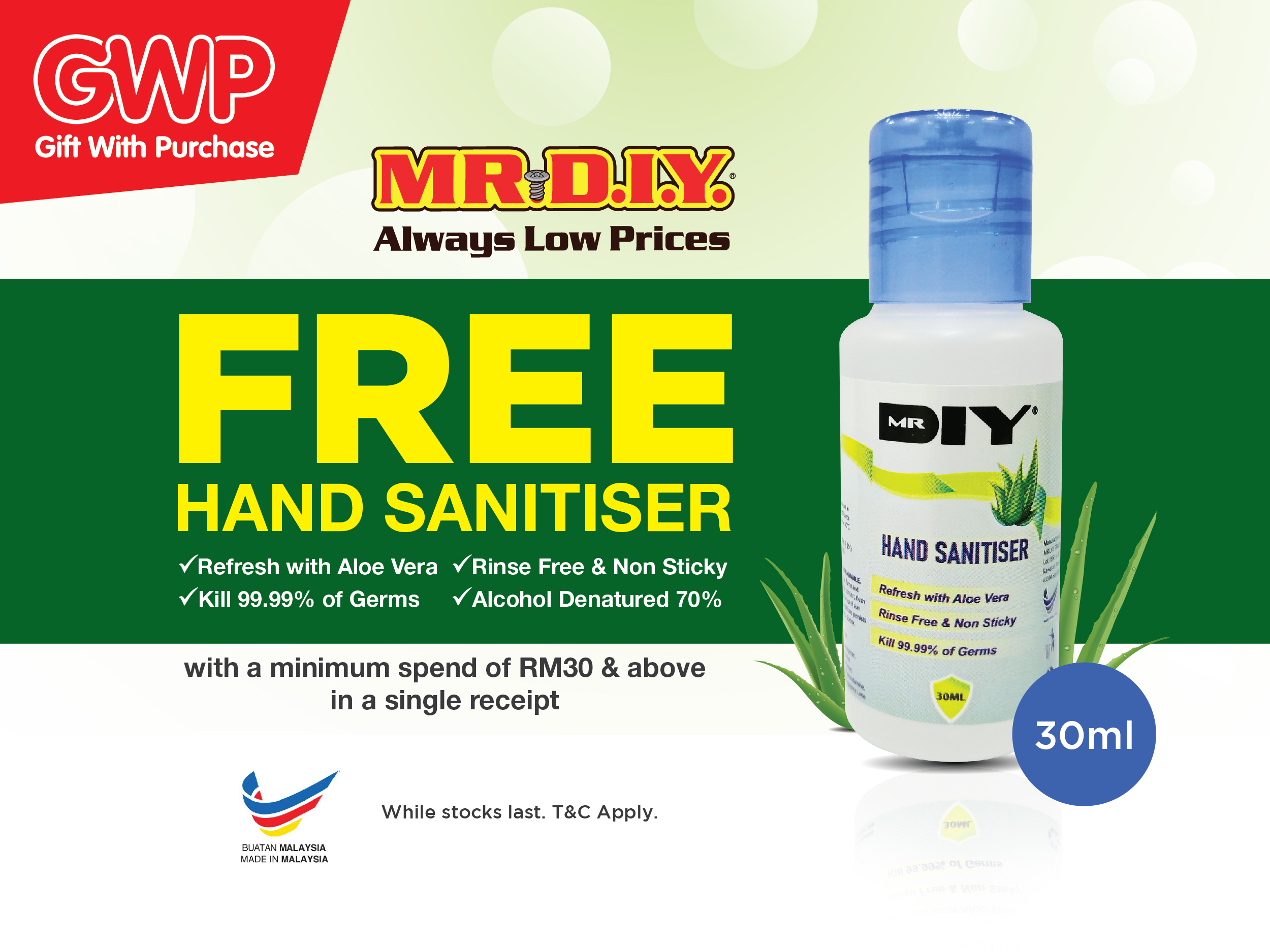 Gift With Purchase: Free Mr D.I.Y Hand Sanitiser